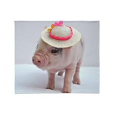 Micro pig wearing Summer hat Throw Blanket
