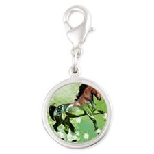 Go Green Silver Round Charm