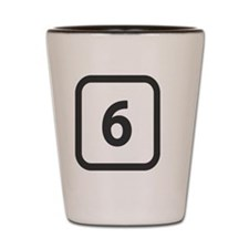 number 6 six  Shot Glass