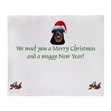 Rottie Rottweiler Christmas Throw Blanket