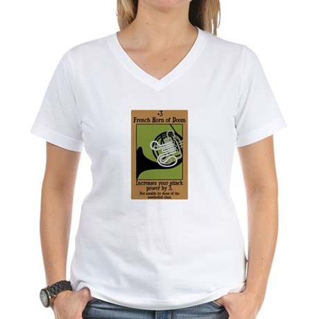 French Horn of Doom Women's V-Neck T-Shirt