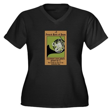 French Horn of Doom Women's Plus Size V-Neck Dark