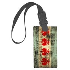 Chicago Polish Flag Grunge Luggage Tag
