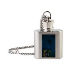 Nevada Flag Grunge Flask Necklace