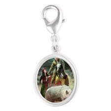 The White Wolf Prophecy Lovers Silver Oval Charm