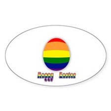 Happy Easter, Gay Pride Easter Egg Oval Decal