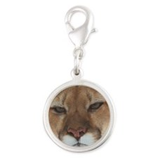 Big Face Animal - Panther Silver Round Charm