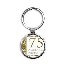 Fancy Vintage 75th Birthday Round Keychain