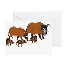 Red river hog family - dark Greeting Card