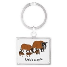 Red river hog family - light Landscape Keychain