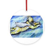 Wheaten Terrier Angel Flys free Ornament (Round)