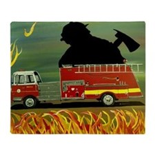 Firefighter Poster Print Throw Blanket