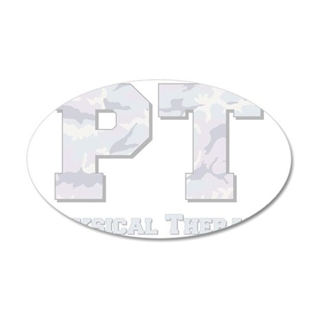 pt camo gray sticky 35x21 Oval Wall Decal