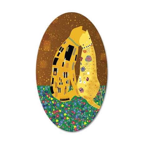 Klimts Kats 35x21 Oval Wall Decal