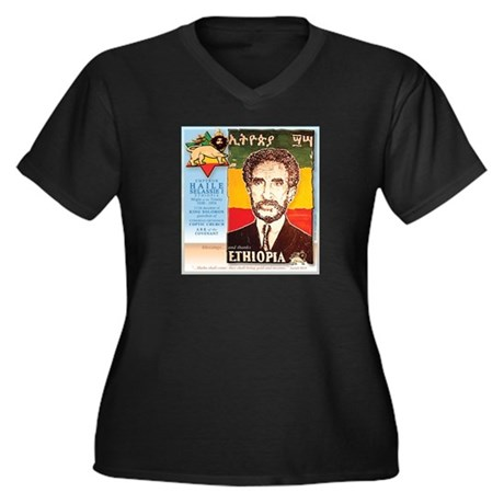 Haile Selassie I Women's Plus Size V-Neck Dark T-S