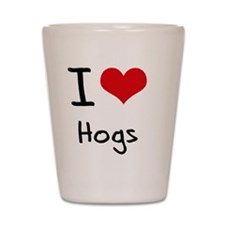 I Love Hogs Shot Glass