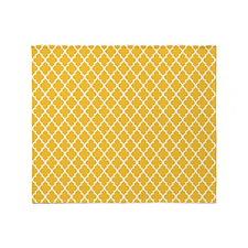Yellow Quatrefoil Throw Blanket