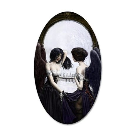 skull illusion coloured gn h 35x21 Oval Wall Decal