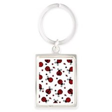 Cute Red Ladybug and Hearts Prin Portrait Keychain