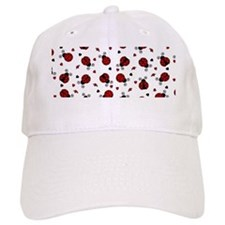 Cute Red Ladybug and Hearts Print Baseball Cap