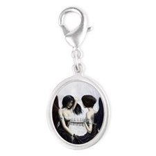 skull illusion for clipboard Silver Oval Charm