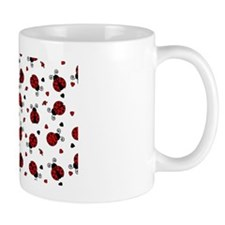 Cute Red Ladybug and Hearts Print Mug