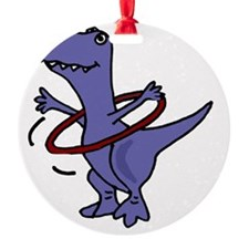 Funny T-rex Dinosaur Playing Hula H Ornament