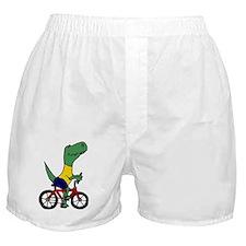 T-rex Dinosaur Riding Bicycle Cartoon Boxer Shorts