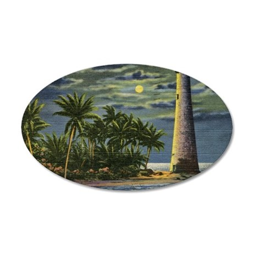 Cape Florida Light House, Mi 35x21 Oval Wall Decal