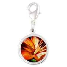 orange lily mixed paint Silver Round Charm