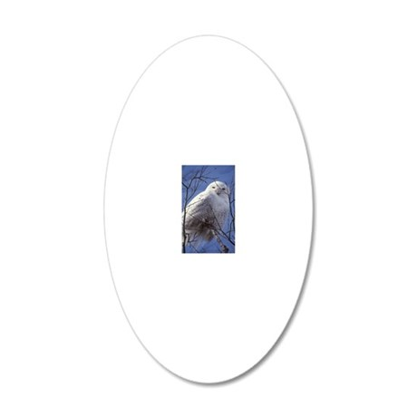 Snowy White Owl, Blue Sky 20x12 Oval Wall Decal