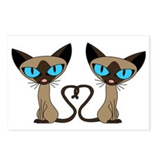 Cute Siamese Cats Tail He Postcards (Package of 8)