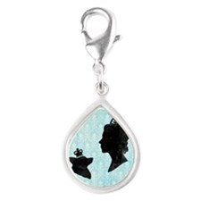 Queen and Corgi Silver Teardrop Charm