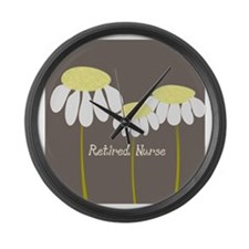 Retired Nurse Daisies Large Wall Clock