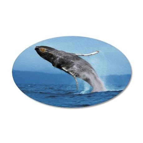 Humpback Whale Leap 35x21 Oval Wall Decal