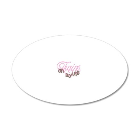 Twins on Board in Pink 20x12 Oval Wall Decal