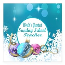 "Worlds Greatest Sunday S Square Car Magnet 3"" x 3"""