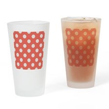 coral with big white dots Drinking Glass