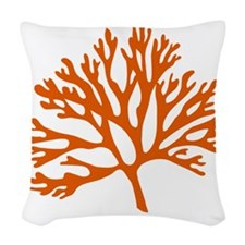 red sea fan coral drawing Woven Throw Pillow