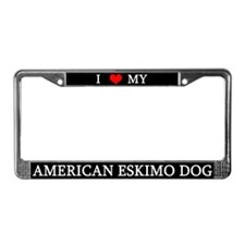 Love American Eskimo Dog License Plate Frame
