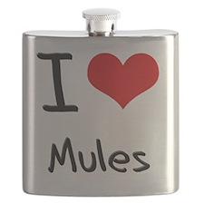 I Love Mules Flask