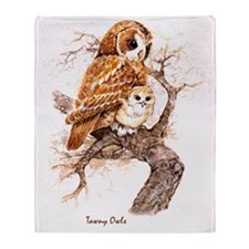 "Birds and Young ""Tawny Owls"" Peter B Throw Blanket"