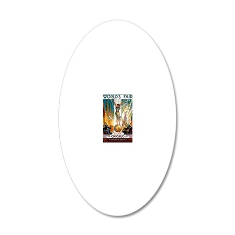 Vintage Chicago Worlds Fair  20x12 Oval Wall Decal