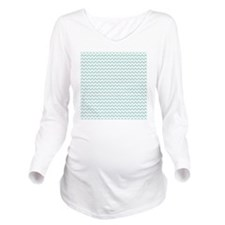 Chevrons lt teal Whi Long Sleeve Maternity T-Shirt