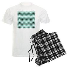 Chevrons White dk teal Square Pajamas