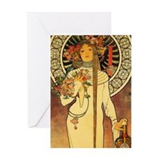 Vintage Art Nouveau Mucha Trappestin Greeting Card