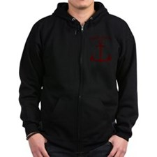 First Mate Boating Anchor Maroon Zip Hoodie