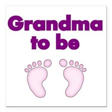 "Grandma to be with pink  Square Car Magnet 3"" x 3"""