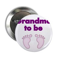 "Grandma to be with pink footprints 2.25"" Button"