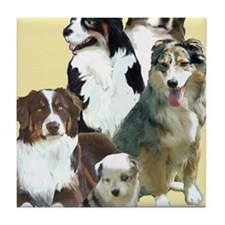 australian shepherd group Tile Coaster